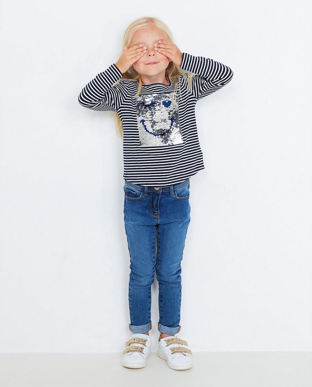 T-shirt à longues manches - rayé bleu foncé et blanc - JBC